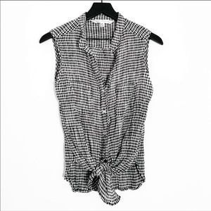 Max Studio | Black & White Gingham Knotted Top M